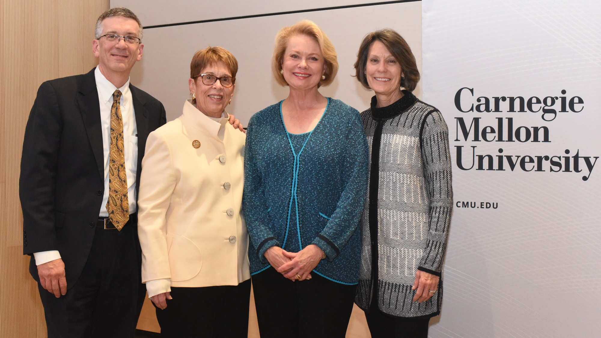 Provost James Garrett pictured with Jeanne Berdik, Bev Elliott and Jennifer Martin of ARCS Pittsburgh