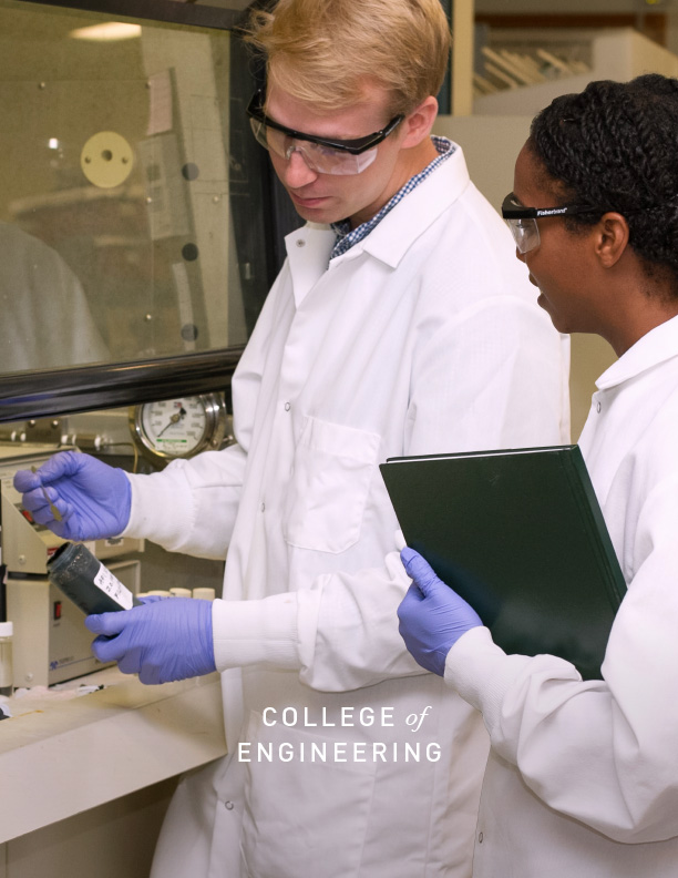 Two people in a lab from the cover of the College of Engineering case statement