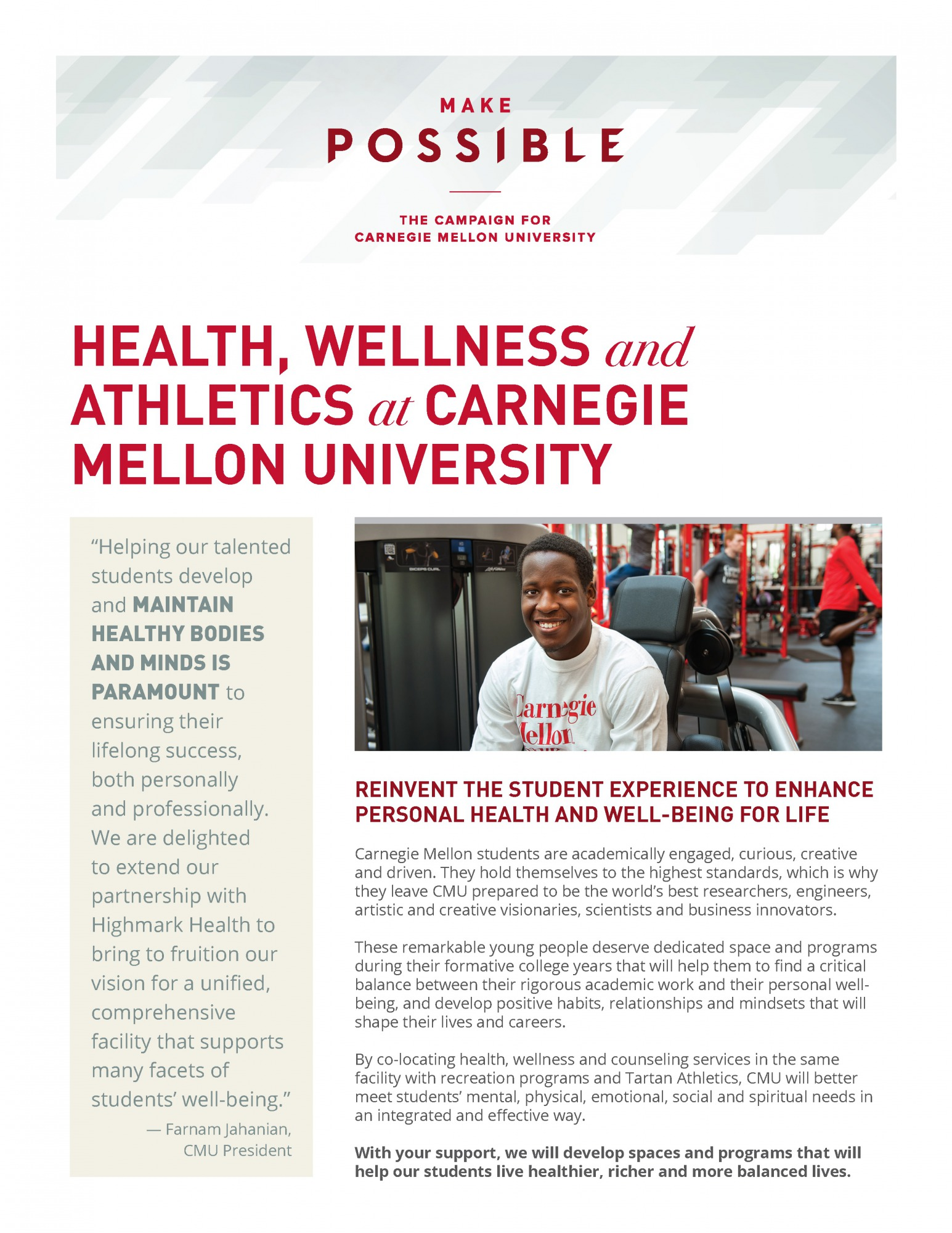 first page of the health wellness and athletics info sheet