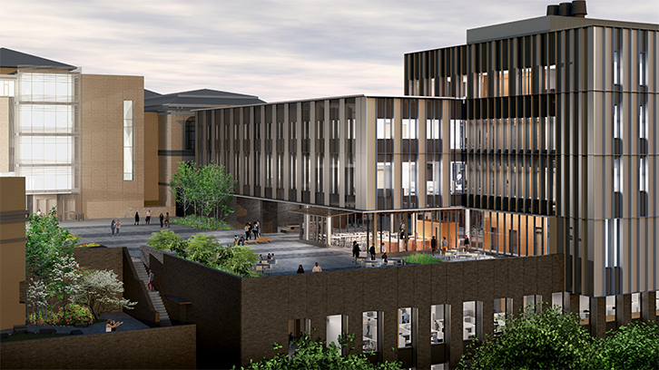 Rendering of the new Scaife Hall, courtyard side