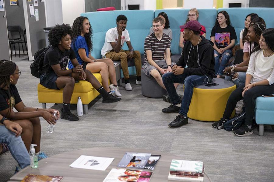 A group of Tartan Scholars meet