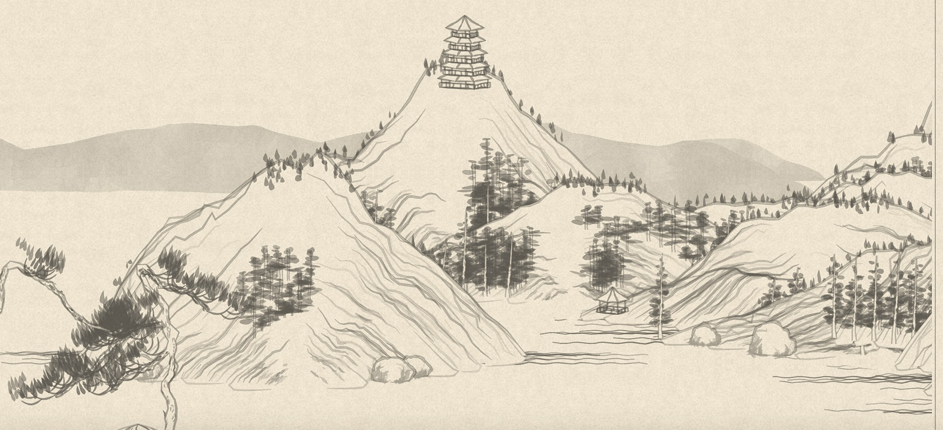 a line drawing of mountains